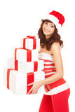 Happy santa woman with gift boxes Stock Photography