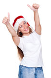 Happy santa woman in white t-shirt Stock Image