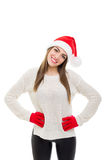 Happy Santa young woman posing Stock Photo