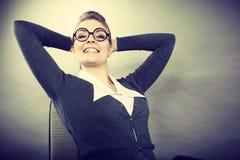 Happy satisfied businesswoman portrait. Stock Photos