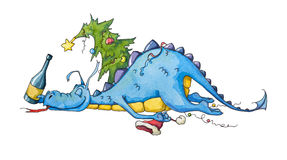 Happy and satisfied dragon after a new year party stock illustration