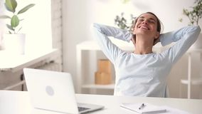 Happy satisfied girl finished work on laptop relaxing breathing air. Happy satisfied girl student finished study work on laptop relaxing breathing fresh air at stock footage