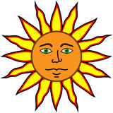 Happy Satisfied Sun. Happy, Satisfied sun with large yellow, black and red sunrays leaping from the surface. This illustration is of a content sun with human Stock Photography