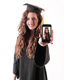 Happy satisfited graduated woman Royalty Free Stock Photo