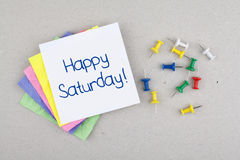 Happy Saturday Good Morning Weekend Note Phrase Royalty Free Stock Images