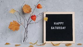 Happy Saturday text on black letter board and bouquet of branches with yellow leaves on clothespins in vase on table. Template for postcard, greeting card stock video footage