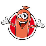 Happy sausage in a badge. Clipart of a happy sausage in a badge Royalty Free Stock Images