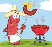 Happy Sausage With Mexican Hat. Cook At Barbecue With Background Royalty Free Stock Photography