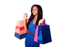 Happy savvy shopper fashion woman royalty free stock photography