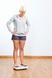 Happy scale woman. Scale woman success weight loss healthy lifestyle royalty free stock photos