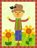 Happy Scarecrow. Cute scarecrow with a bird on his hat is standing in a field with flowers and a stripes border around it. Eps10 Stock Image