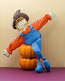 Happy Scarecrow Poses With Arms Stretched Wide Stock Photography