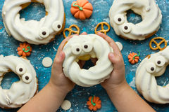 Happy and scary Halloween - treat for kids in the form of ghost, Royalty Free Stock Photos