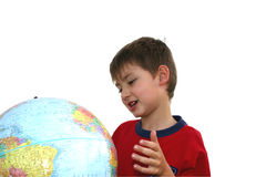 Happy school. Kid studying geography Royalty Free Stock Photography