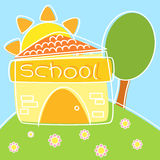 Happy School. A little school on a green hill surrounded by pink flowers Stock Image