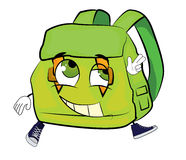 Happy school bag cartoon Stock Photography