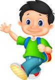 Happy school boy cartoon royalty free illustration