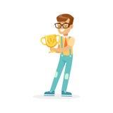 Happy school boy holding winner cup, kid celebrating his victory cartoon vector Illustration Royalty Free Stock Photo