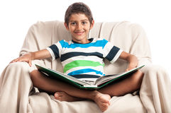 Happy school boy learning Royalty Free Stock Photography