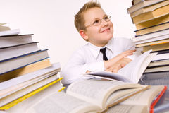 Happy  school boy surrounded by books Stock Photos