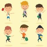 Happy school boys jumping outdoor. vector illustration