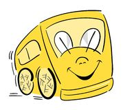 Happy School Bus. A very happy school bus, great for Back-To-School promotions. Can be used as a regular transportation bus, too Stock Images