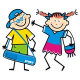 Happy kids with bags, funny illustration, vector icon, couple. Happy school children, children with bags, funny vector illustration. Girl and boy together Royalty Free Stock Images