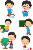Happy school children cartoon collection set Royalty Free Stock Photos