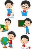 Happy school children cartoon collection set Royalty Free Stock Photos