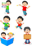 Happy school children cartoon collection set Stock Image