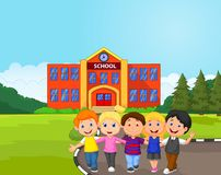 Happy school children cartoon in front of school Stock Photography