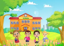 Happy School children in front of the school building. Vector illustration of happy School children in front of the school building Royalty Free Stock Images