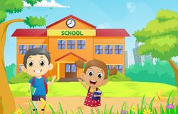 Happy School children in front of the school building. Vector illustration of happy School children in front of the school building Stock Images