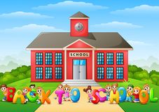 Happy school children holding the words `Back to School` in front of school building. Illustration of Happy school children holding the words `Back to School` in Royalty Free Stock Photos