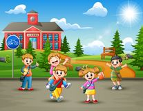 Free Happy School Children In The Road To School Royalty Free Stock Image - 133336896