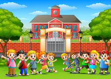Happy school children in outside the front of school building. Illustration of Happy school children in outside the front of school building Royalty Free Stock Photos