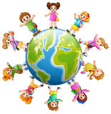 Happy school children standing around the earth. Illustration of Happy school children standing around the earth Stock Photography