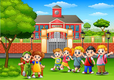 Happy school children standing in front of school building. Illustration of Happy school children standing in front of school building Royalty Free Stock Images