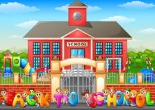 Happy school children standing in front of school building Royalty Free Stock Photo