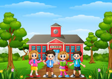 Happy school children standing in front of school building. Illustration of Happy school children standing in front of school building Royalty Free Stock Photography