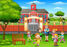 Happy school children with teacher in outside the front of school building. Illustration of Happy school children with teacher in outside the front of school Royalty Free Stock Photography