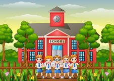 Happy school childrens in front of school building. Illustration of Happy school childrens in front of school building Royalty Free Stock Image