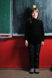 Happy school girl. On math classes finding solution and solving problems happy young school girl portrait on math class Royalty Free Stock Image