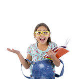 Happy school girl. With books Stock Images