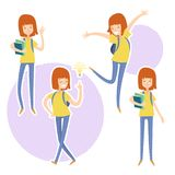 Happy school girl with a books in hand. stock image