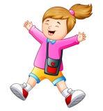 Happy school girl cartoon Stock Image