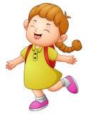Happy school girl cartoon Stock Photo