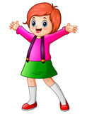 Happy school girl cartoon Royalty Free Stock Photos
