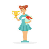 Happy school girl holding winner cup and bouquet of flowers, kid celebrating her victory cartoon vector Illustration. On a white background Stock Photo
