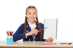 Happy school girl with notebook Stock Photos